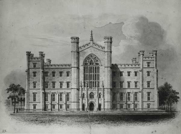 University Building Watercolor and Engraving by A.J. Davis, c. 1833